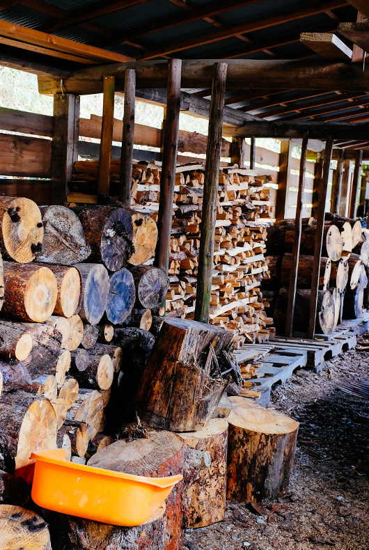 Wood collected for the next firing of Keiji Tanaka's pottery.