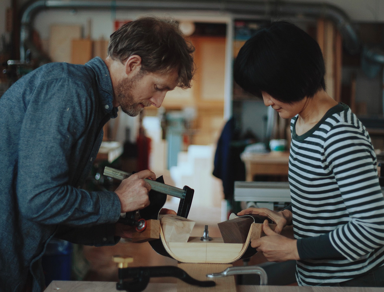 Carpenters Akiko Kuwahata & Ken Winther in their studio near Copenhagen, Denmark.