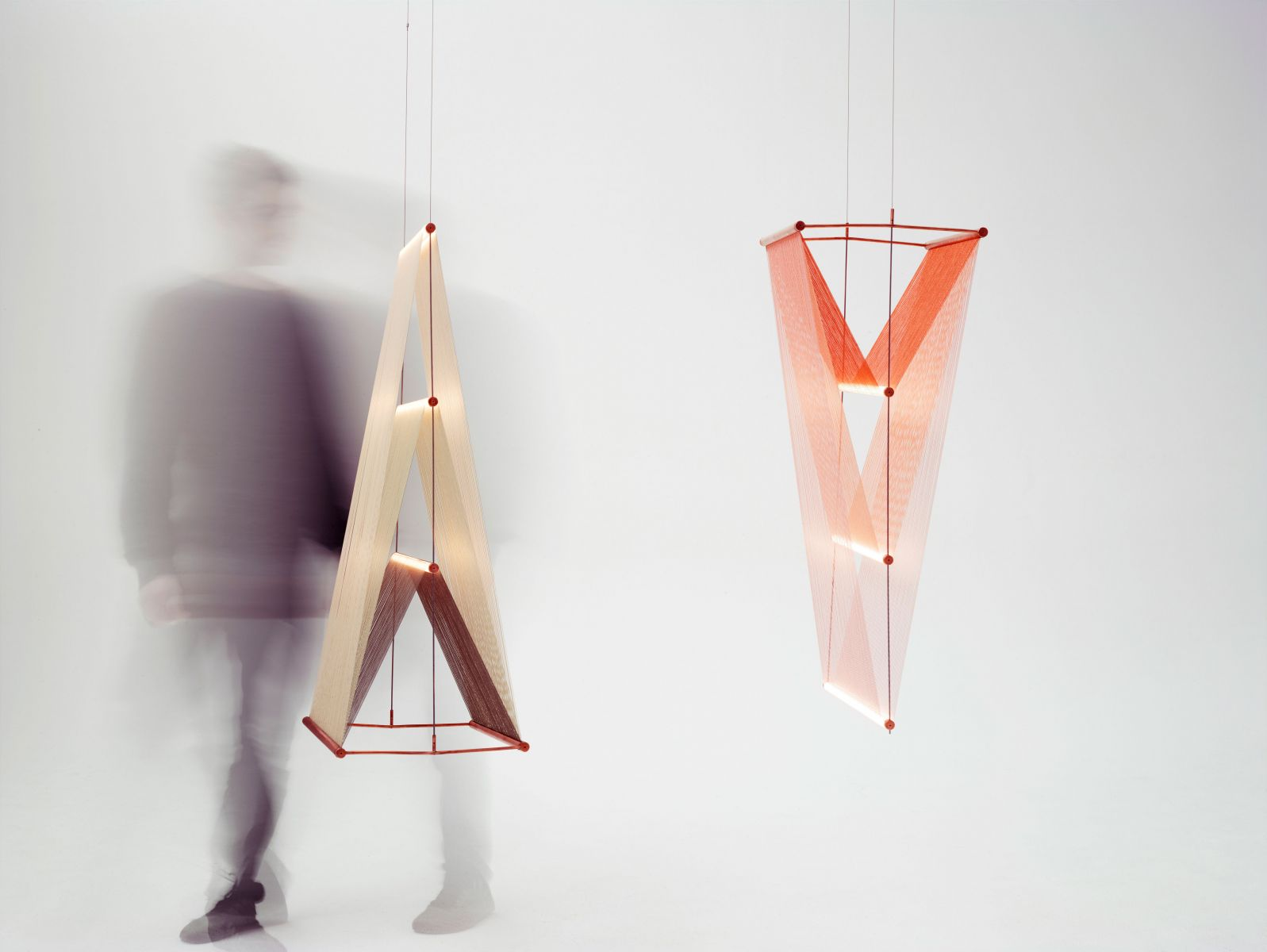 Spun Prism by Umut Yamac. Copper, Mercerised cotton, Stainless steel