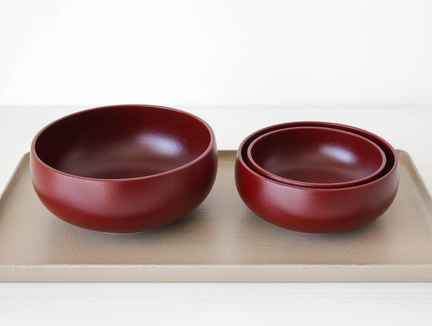 Red Nested Urushi (Lacquer) Bowls Handcrafted by Fujii Works