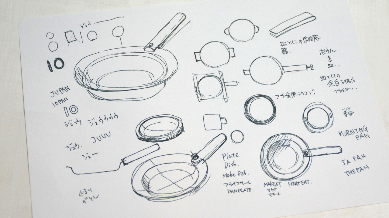Sketches of the JIU Frying Pan and Handle before production
